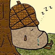 Acorn Sleeping and Drooling Clipart