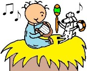 Baby Jesus In The Manger With His Sheep Playing Music Clipart Picture- el nino jesus en su pesebre