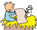 Baby Jesus And his sheep folding towels clipart picture-el nino jesus en su pesebre