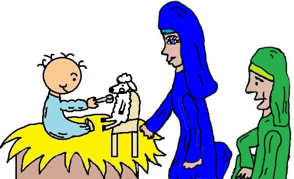 Mary Joseph and Baby Jesus in the Manger Feeding His SHeep Clipart Christmas Clipart