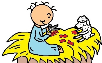 Baby Jesus and his sheep in manger making puzzles clipart- el nino jesus en su pesebre