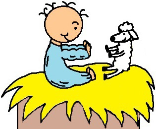 Baby Jesus In Manger Playing Patty Cake With Sheep Clipart Picture- el nino jesus en su pesebre