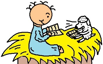 Baby Jesus In Manger With Sheep Reading Bible Clipart Picture- el nino jesus en su pesebre