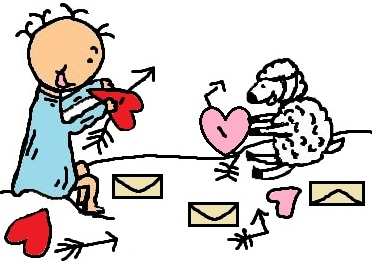 Baby Jesus And Sheep Making Hearts Clipart Picture- el nino jesus en su pesebre