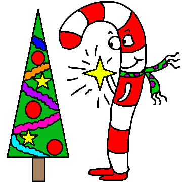 Candy Cane Putting a Star On The Christmas Tree Clipart