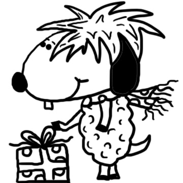Sheep With Present Clipart