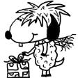 Christmas Sheep With Scarp And Present Clipart