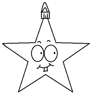 Christmas Star Smiling With Buck Tooth Ornament Clipart