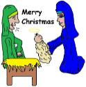 Christmas Clipart- Mary joseph and baby jesus in the manger clip art