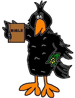 fall clipart crow bird holding corn and a bible free personal use clip art image cartoon image colored black orange template printable download cutout free crow fall clipart sunday school bulletin board childrens church preschool kindergarten homeschool