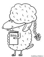 Sheep Holding Bible Clipart