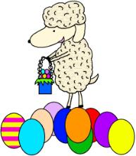 Sheep With Easter Basket and Easter Eggs Clipart