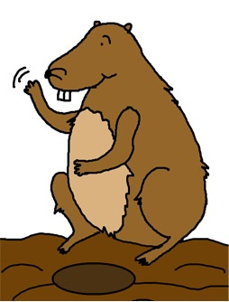 Groundhog Waving Clipart- Groundhog day clipart