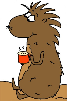 Groundhog Drinking Hot chocolate clipart- Groundhog Day clipart