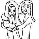 Mary Joseph and Baby Jesus Clipart- Christmas Clipart