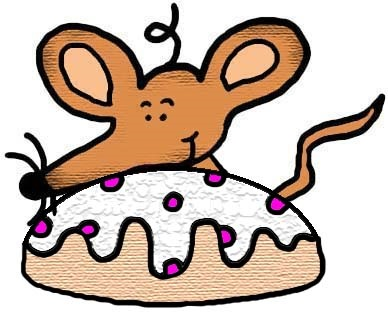 Mouse With Donut (Pastry) Clipart Cartoon Image Picture Drawing Illustration Graphic