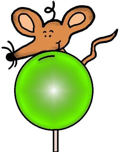 Mouse With Green Sucker Clipart Illustration Picture Image Cartoon Graphic Drawing