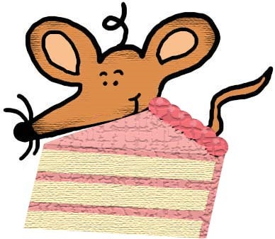 Mouse With Slice of Cake Clipart Illustration Image Graphic Picture Drawing
