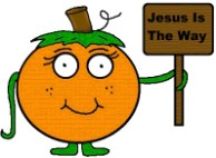 Pumpkin holding sign that says Jesus is the way clipart