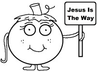 Pumpkin Holding Sign that say's Jesus is The Way Clipart
