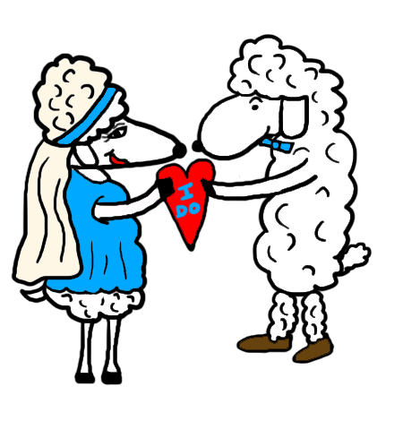 Bride and Groom Wedding Sheep Clipart I Do