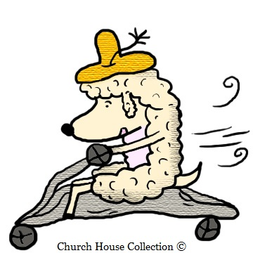 Sheep Riding His Bike Clipart