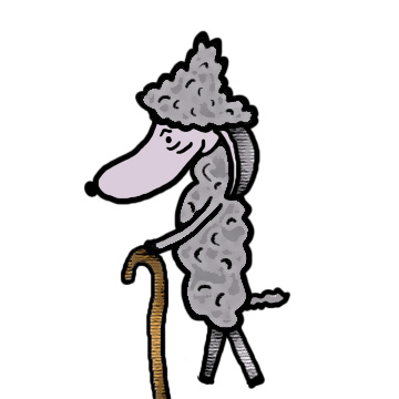 Old sheep with cane clipart