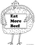 Turkey Holding sign eat more beef clipart