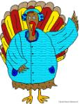 Thanksgiving Turkey wearing winter coat and earmuffs clipart picture image for bulletin board