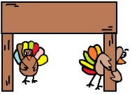 Thanksgiving Turkey Clipart- Turkey's Hiding Under Table Clipart