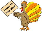 Thanksgiving Turkey Clipart- Turkey Holding Sign Jesus Is The Way