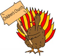 Turkey Holding Sign That say's children's church clipart