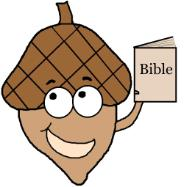 Acorn Holding Bible Clipart
