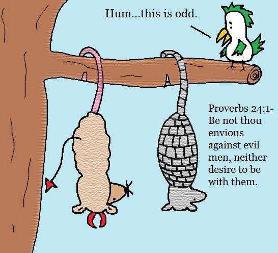 Proverbs 24:1 Clipart Envious against evil men Armadillo and possum