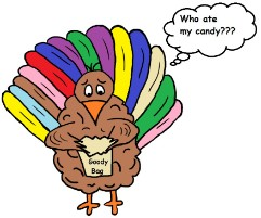 Thanksgiving Turkey Clipart- Sad Turkey With Empty Goody Bag Clipart